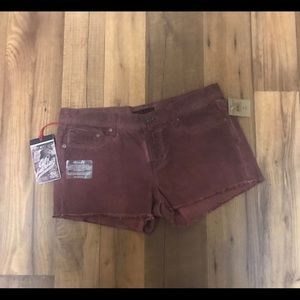 Cult of individuality jean shorts red/ burgundy 29